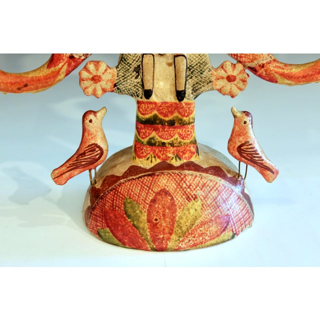 Vintage Mexican Tree of Life Pottery Aurelio Flores Candelabra Sculpture For Sale - Image 4 of 13