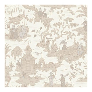 Chinese Toile Neutral Cole & Sons Wallpaper Sample For Sale