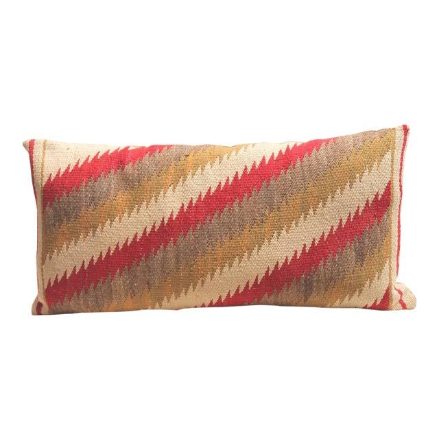 Amazing Navajo Indian Weaving, Streak of Lightning Pattern Bolster Pillow For Sale