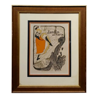 "Henry De Toulouse ""Lautrec Jane Avril Jardin De Paris"" Original 1895 Lithograph For Sale"