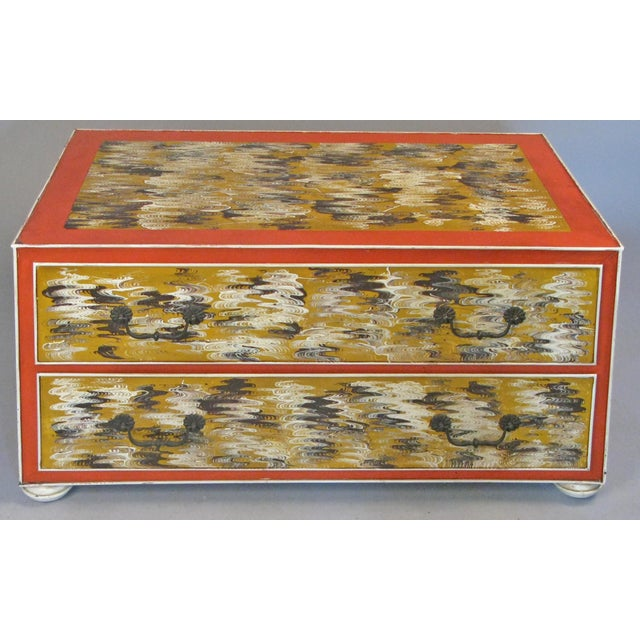1960s Vintage Hand Painted Metal 2-Drawer Chest For Sale - Image 9 of 9