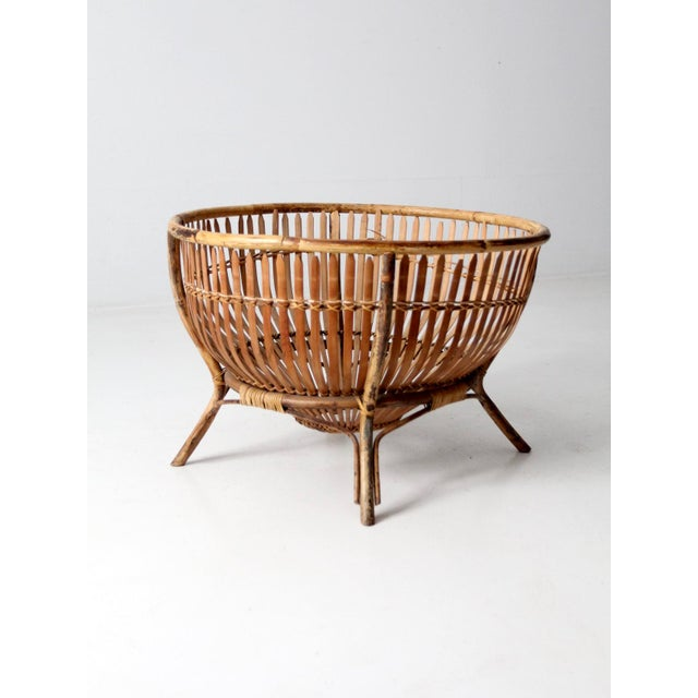 Mid 20th Century Mid-Century Rattan Basket For Sale - Image 5 of 13