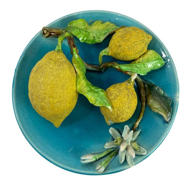 Menton French Majolica Wall Plaque Turquoise With Lemons by J. Saissi Circa 1880 For Sale - Image 6 of 13