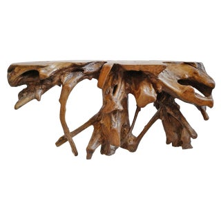 Organic Teak Root Console For Sale