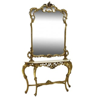 French Giltwood Console and Mirror With Marble Top For Sale