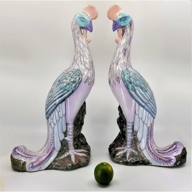 Chinese Extra-Large Chinese Porcelain Ceramic Phoenix Bird Sculptures or Figurines - a Pair For Sale - Image 3 of 13