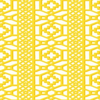 Sample - Schumacher Zanzibar Trellis Wallpaper in Canary For Sale