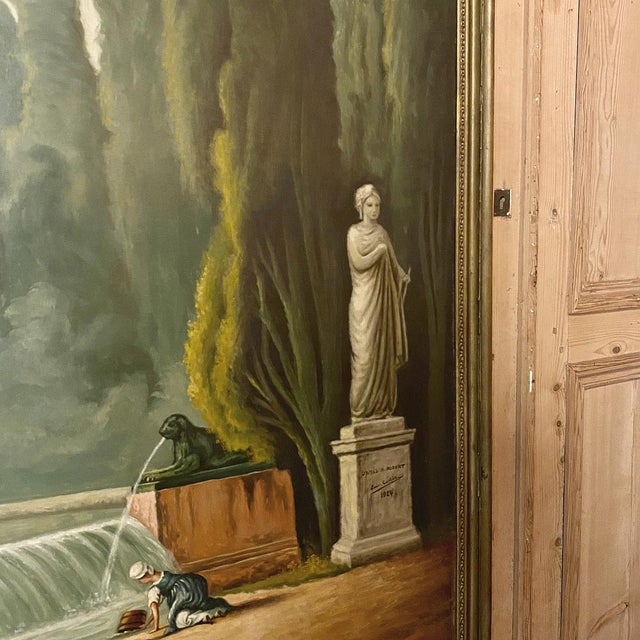 Canvas Grand Framed Oil Painting on Canvas by E. Carliez After H. Robert For Sale - Image 7 of 12