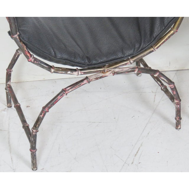 Faux Bamboo Distressed Painted Cerule Stools - a Pair - Image 2 of 4