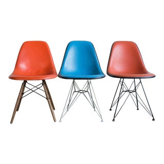 1950s Mid-Century Modern Eames Upholstered Side Chairs - Set of 3