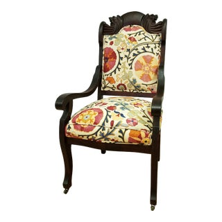 Brunschwig and Fils Dzhumbal Fabric Upholstered Turn of the Century Chair For Sale