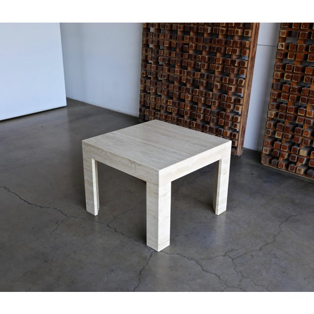 Vintage Travertine Side Table Circa 1980 For Sale - Image 13 of 13