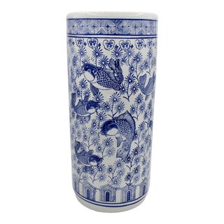 Vintage Blue and White Chinoiserie Umbrella Stand For Sale