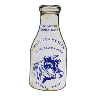 Large Old Milk Bottle Enamel Sign For Sale