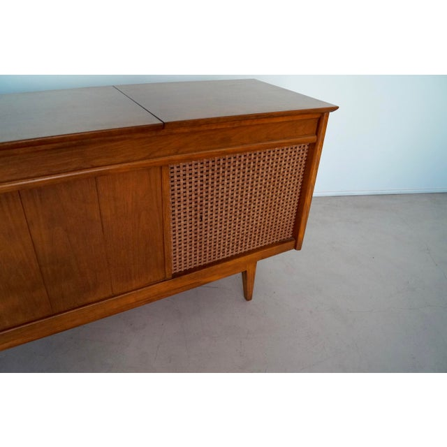 1960s Danish Modern Silvertone Walnut Record Console For Sale - Image 11 of 13