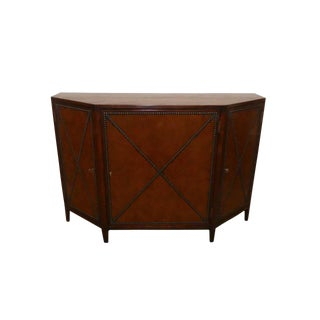 Henredon Acquisitions Honore Credenza With Leather Wrapped Doors For Sale