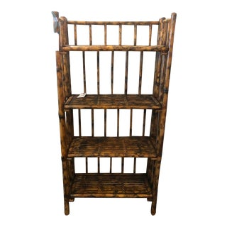 Three-Tiered Scorched Bamboo Etagere For Sale