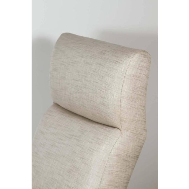 Paul Marra Slipper Chair in Black Nickel with Linen For Sale In Los Angeles - Image 6 of 7