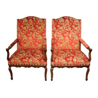 Large French Provincial Regence Armchairs - a Pair For Sale