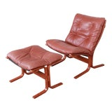 Image of Ingmar Relling for Westnofa Bentwood Teak and Leather Siesta Lounge Chair and Ottoman For Sale
