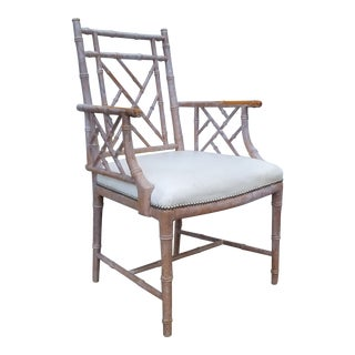 1970s Vintage Palm Beach Hollywood Regency Faux Bamboo Arm Accent Chair For Sale