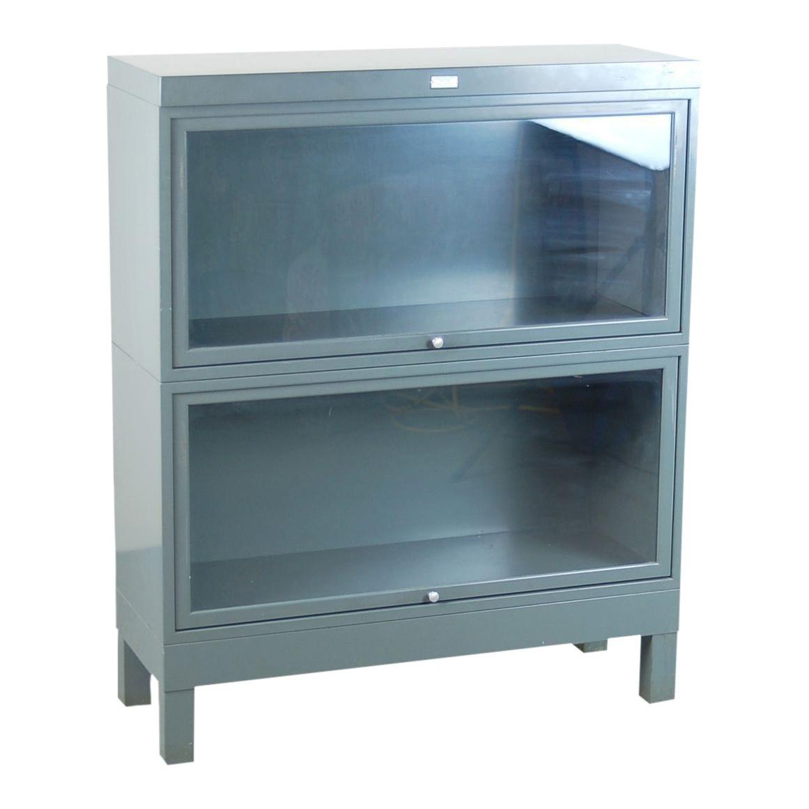 Vintage Industrial Grey Steel Barrister Retractable Glass Doors ...