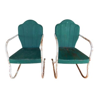 Vintage Steel Spring Base Arm Chairs - a Pair For Sale