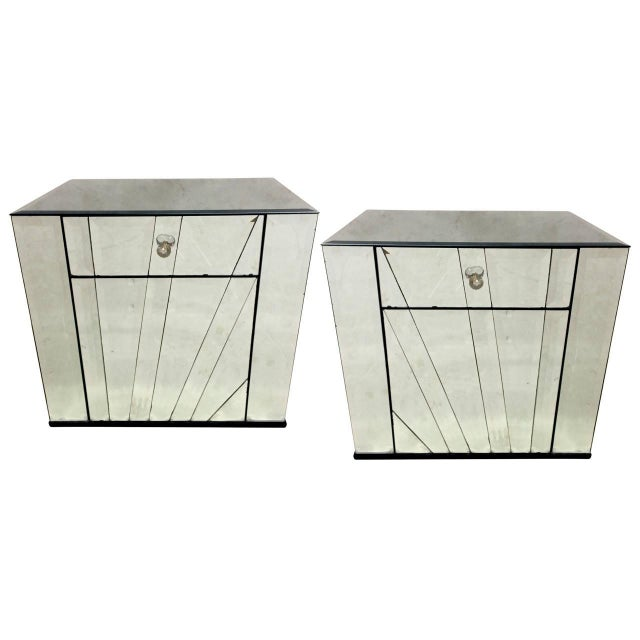 Ello Mirrored Nightstands Side Tables - Pair For Sale