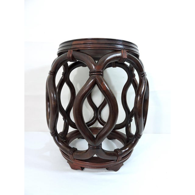 Vintage Chinese Rosewood Garden Stool / Side Table With Flower & Butterfly Porcelain Top For Sale In Tampa - Image 6 of 8