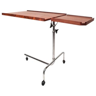 Mid-Century Style Danish Rosewood Adjustable Bedside Service Cart For Sale