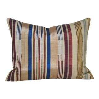 Antique Handwoven Striped Silk Pillow Cover With Metallic Threads For Sale