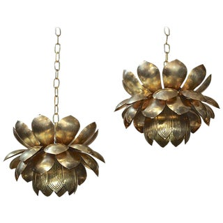 1960s Contemporary Federal Rare Feldman Brass Lotus Chandeliers - a Pair