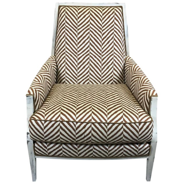 Moderne White -Washed Framed Bergere Chair with Custom Upholstery - Image 1 of 7