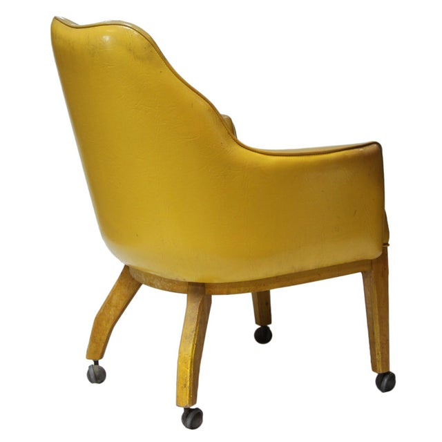 Lemon Yellow Vinyl Accent Chair - Image 4 of 10