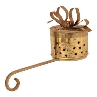 Brass Christmas Gift Stocking Holder For Sale