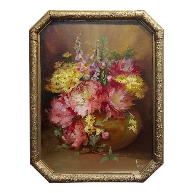Florine Hyer - Beautiful Still Life of Flowers - Oil Painting -C1900 For Sale