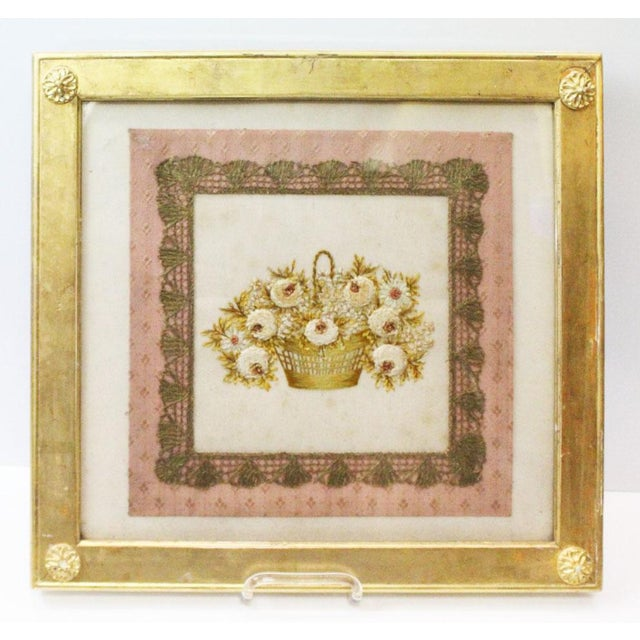 Glass Gilded Thread Framed Embroidery For Sale - Image 7 of 7
