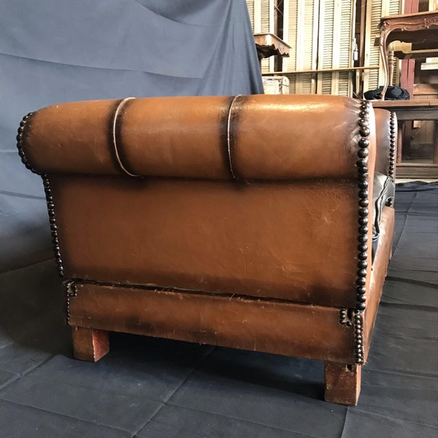 French Art Deco Leather Convertible Daybed Bench For Sale - Image 9 of 13