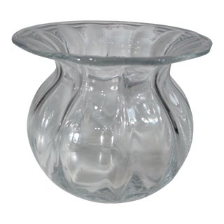Orrefors Sweden Art Glass Circular Vase For Sale