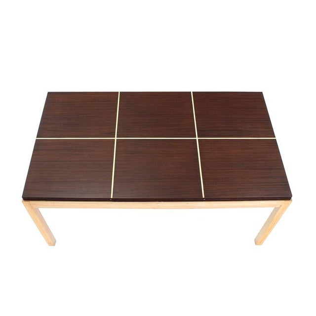 """Very nice Mid-Century Modern rectangle dining table with 2 x 21"""" leaves by Tommy Parzinger."""