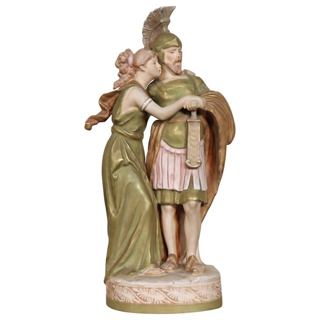 20th Century Porcelain Sculpture Group Neoclassical Couple in Love by Royal Dux For Sale - Image 10 of 10