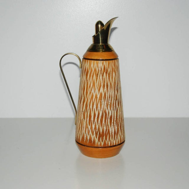 Orange Aldo Tura Wood & Brass Decanters - A Pair For Sale - Image 8 of 11