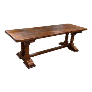 Antique French Normandy Solid Oak Baluster Trestle or Monastery Table. For Sale