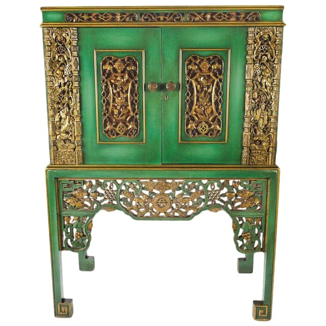 Emerald Green Chinese Cabinet Inset With Gilt Antique Panels For Sale