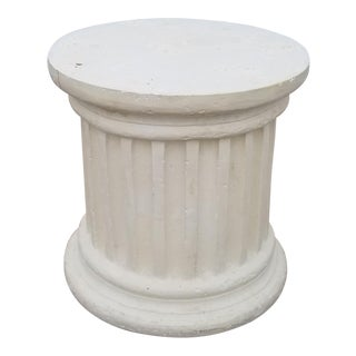 Vintage Hollywood Regency Faux Column Plaster Side Table For Sale
