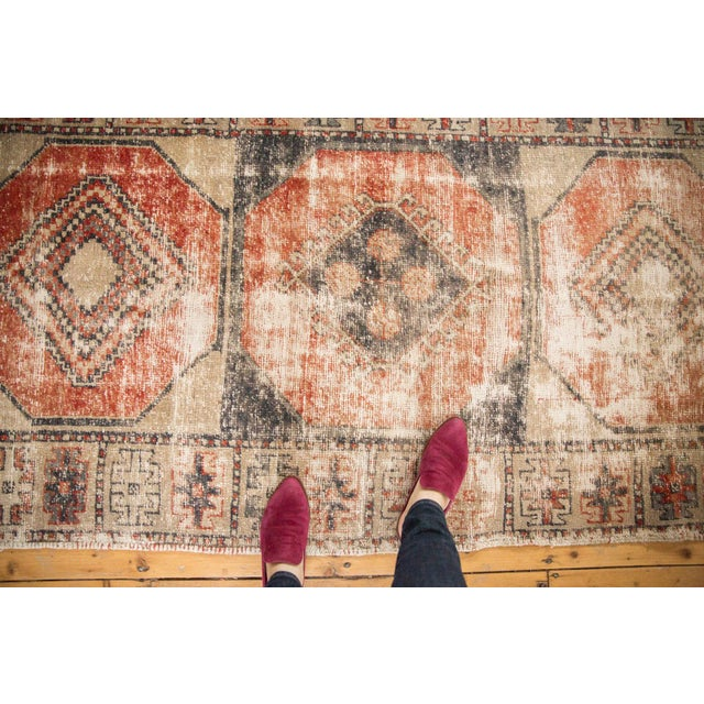 """Shabby Chic Vintage Distressed Oushak Rug Runner - 3'8"""" X 10'3"""" For Sale - Image 3 of 12"""