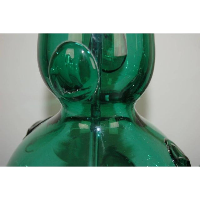 Murano Vintage Murano Glass Table Lamps Prunts Green For Sale - Image 4 of 10