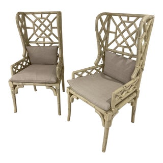 Guild Master Bamboo Wing Back Chairs -a Pair For Sale