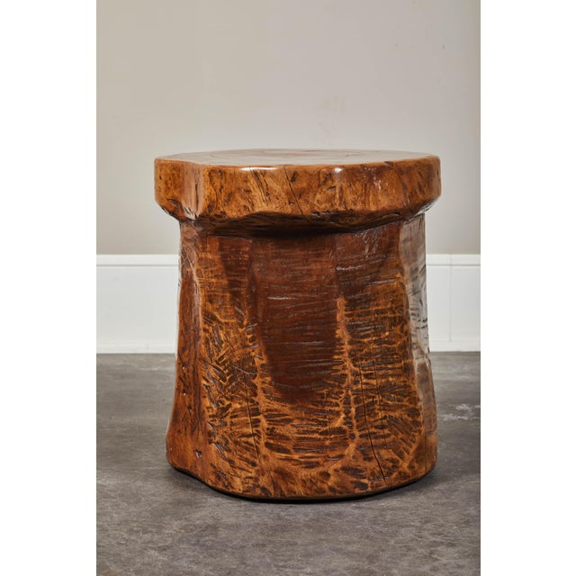 Granary Mortar Indonesian Teak Stool, 20th century. Can be used alone as a stool or side table, are functionally as a low...