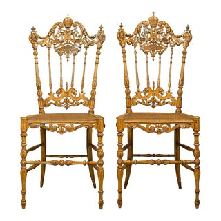 Pope Leo XIII Chiavari Chairs - A Pair For Sale